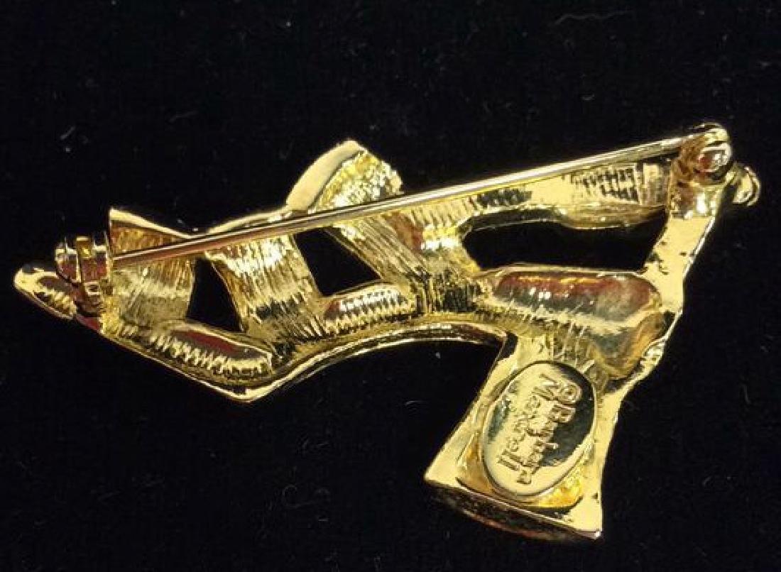 Lot 3 Gold Toned Metal Brooch Pins Jewelry - 7