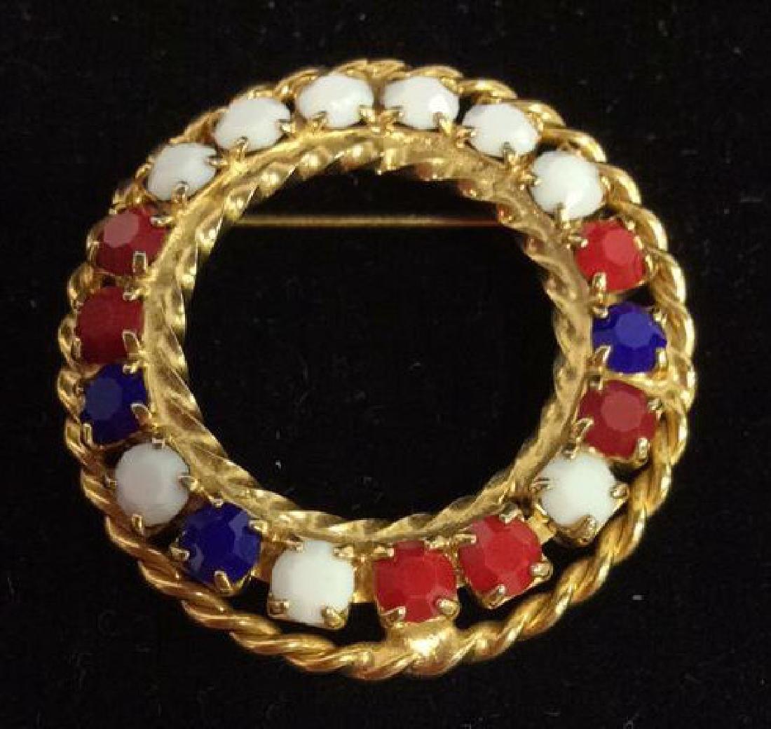 Lot 3 Gold Toned Metal Brooch Pins Jewelry - 8
