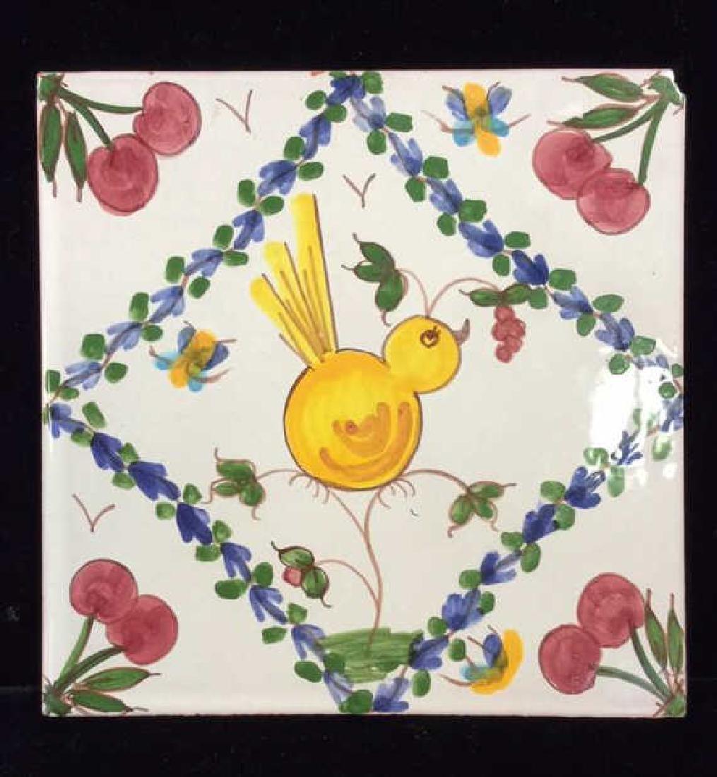 Pair Decorative Hand Painted Ceramic Tiles - 2