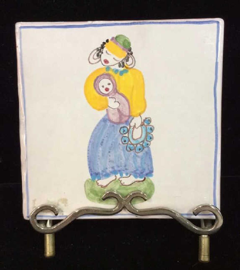 Pair Decorative Hand Painted Ceramic Tiles - 6