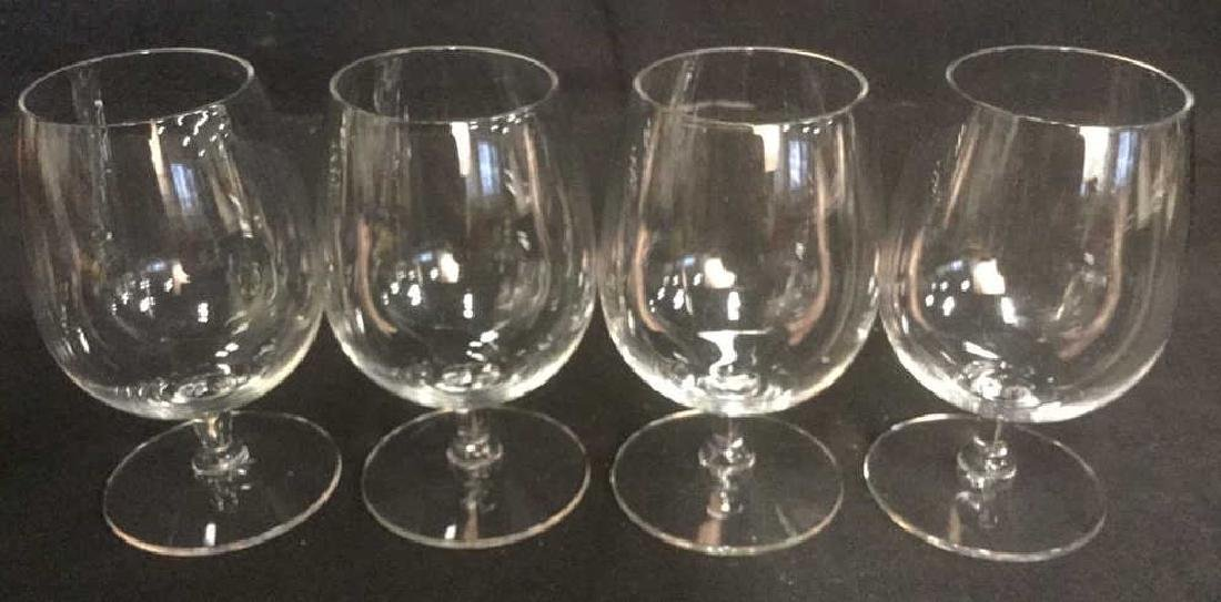 Lot 4 Short Stem Crystal Water Glasses - 2