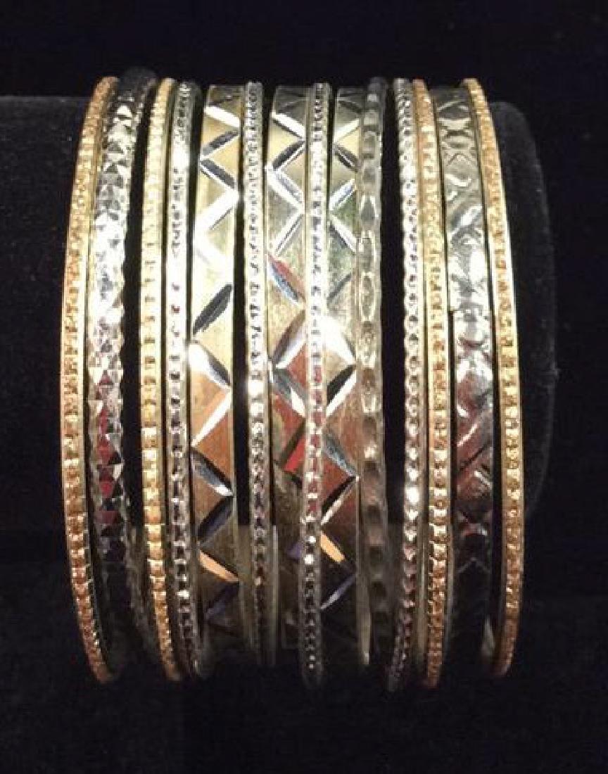 Lot 13 Silver Toned Metal Bangle Bracelets