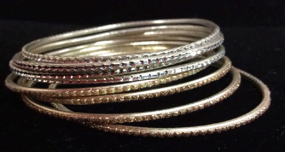 Lot 13 Silver Toned Metal Bangle Bracelets - 4