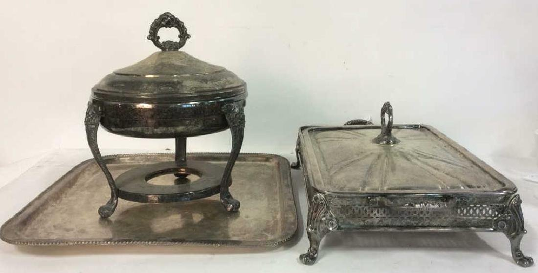 Lot 5 Silver Plated Ornate Tabletop Accessories