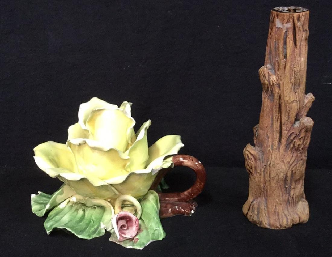 Lot 2 Tabletop Porcelain Ceramic Candlesticks