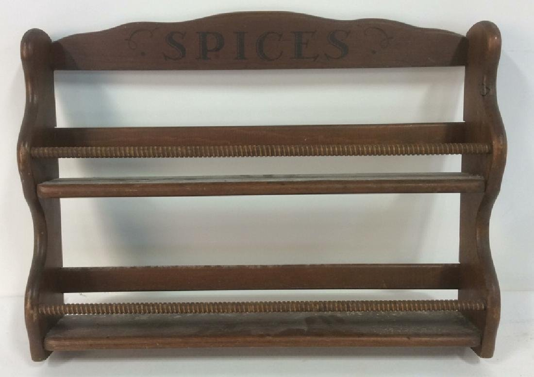Brown Toned Painted Wooden Spice Rack