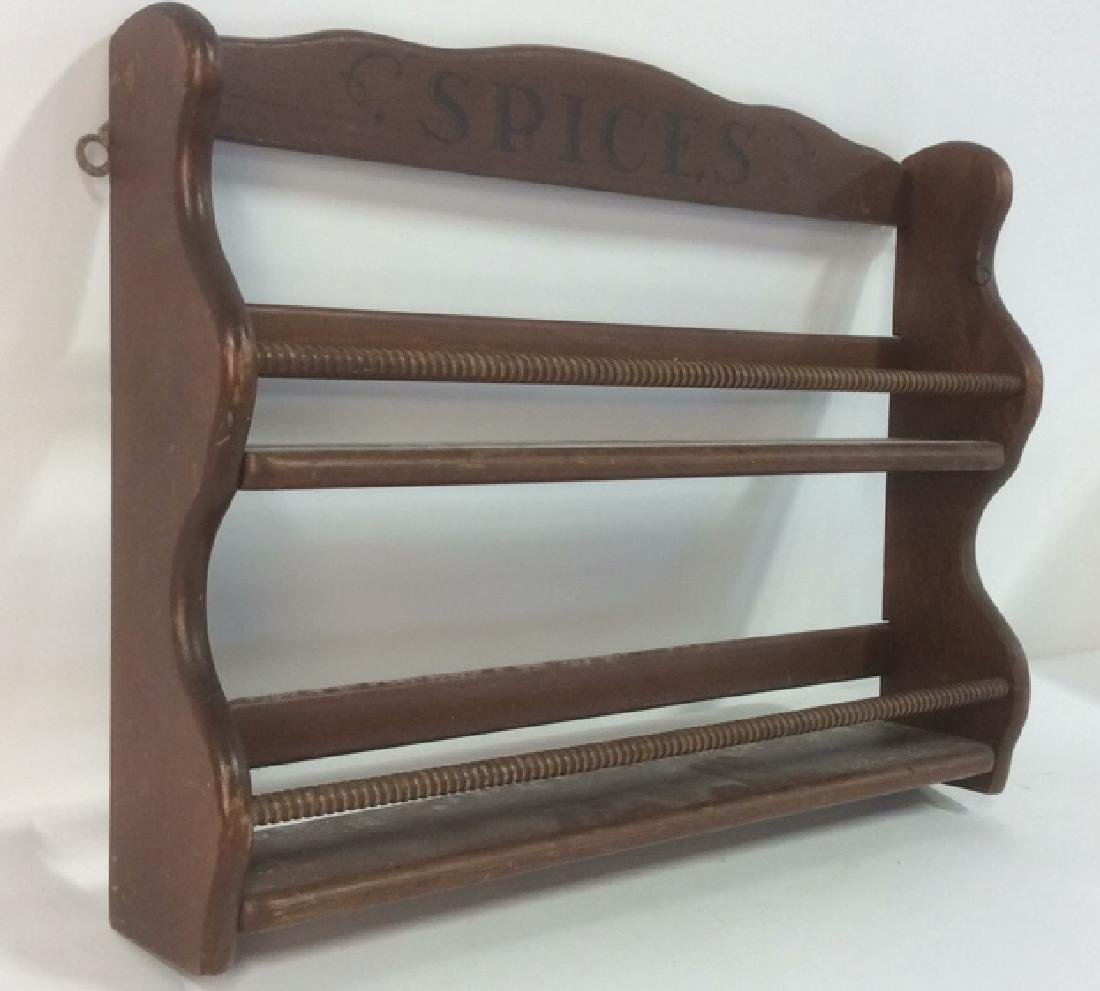 Brown Toned Painted Wooden Spice Rack - 2
