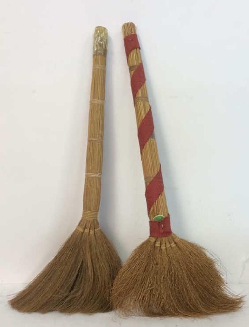 Lot 2 Decorative Wicker Brooms