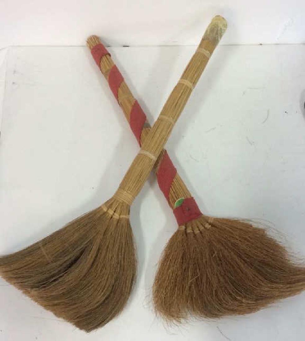 Lot 2 Decorative Wicker Brooms - 4