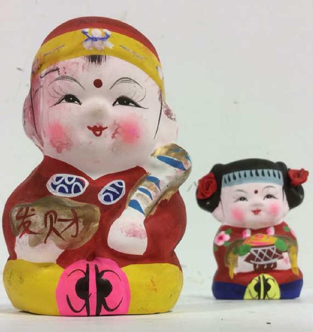 Lot 2 Clay Asian Cartoon Style Figures