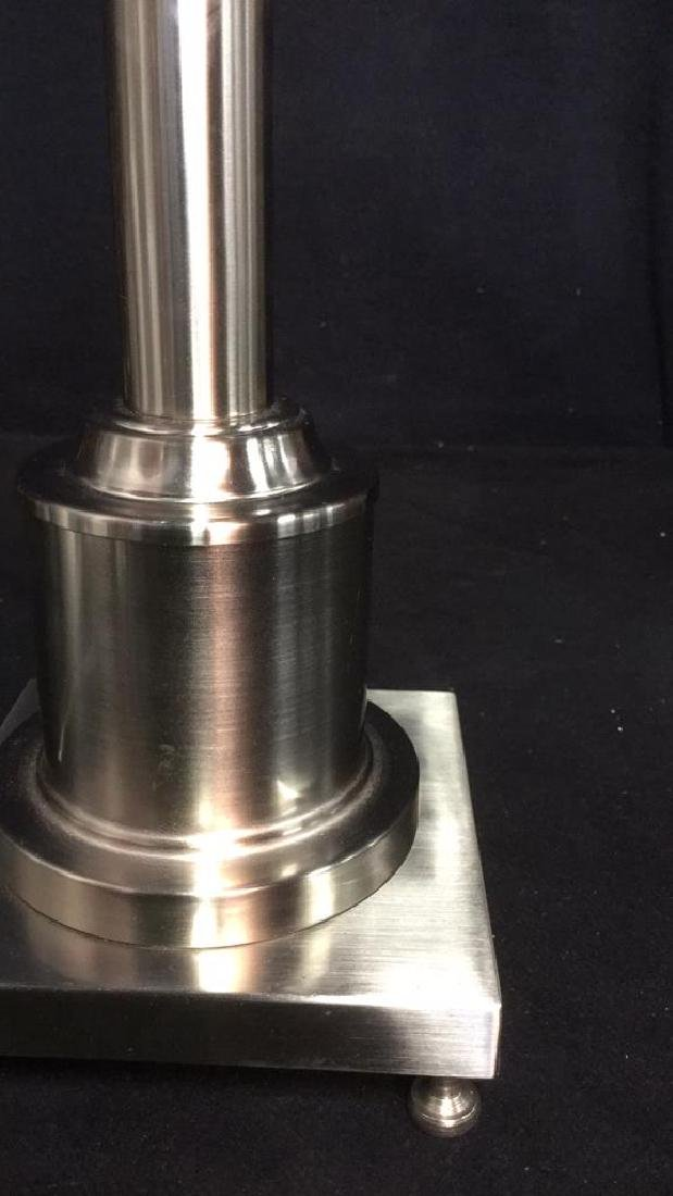 Brushed Metal Table Lamp On Footed Base - 5