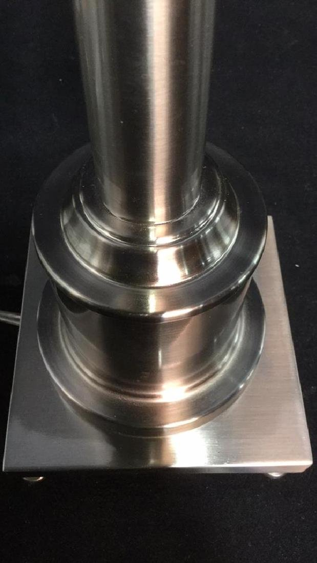 Brushed Metal Table Lamp On Footed Base - 7