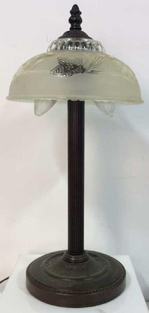Desk Top Lamp W Frosted Glass Shade