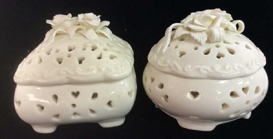 Pair Lidded Porcelain Trinket Dishes