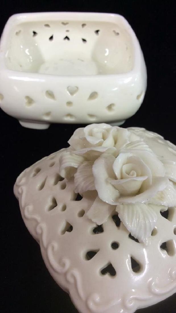 Pair Lidded Porcelain Trinket Dishes - 4
