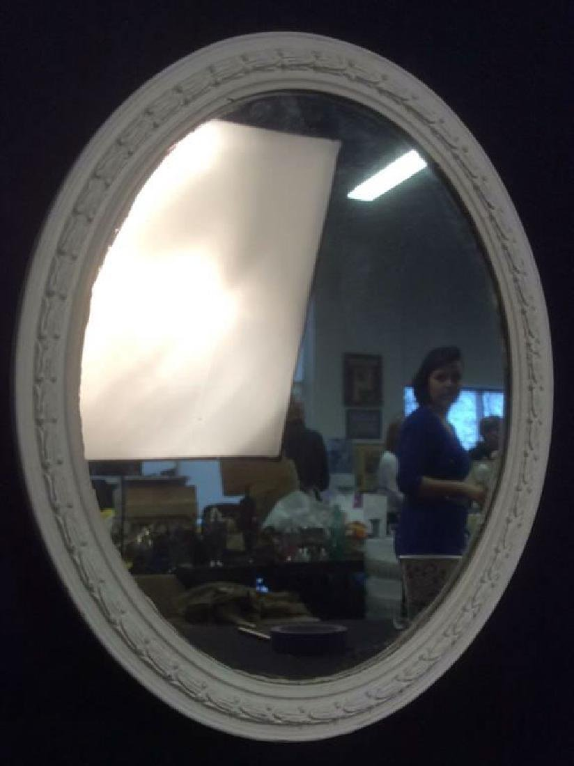 White Toned Wooden Frame Oval Mirror - 2