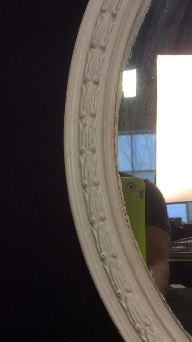 White Toned Wooden Frame Oval Mirror - 4