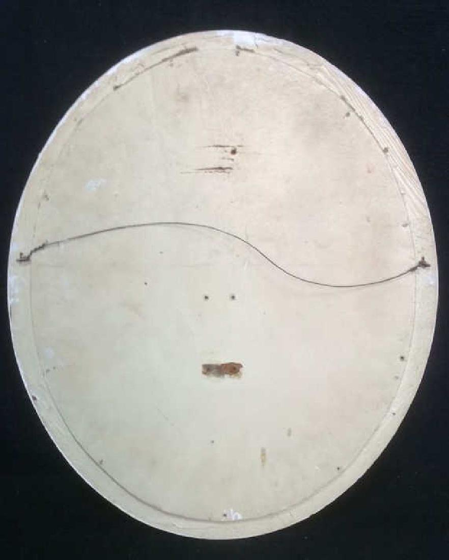 White Toned Wooden Frame Oval Mirror - 5