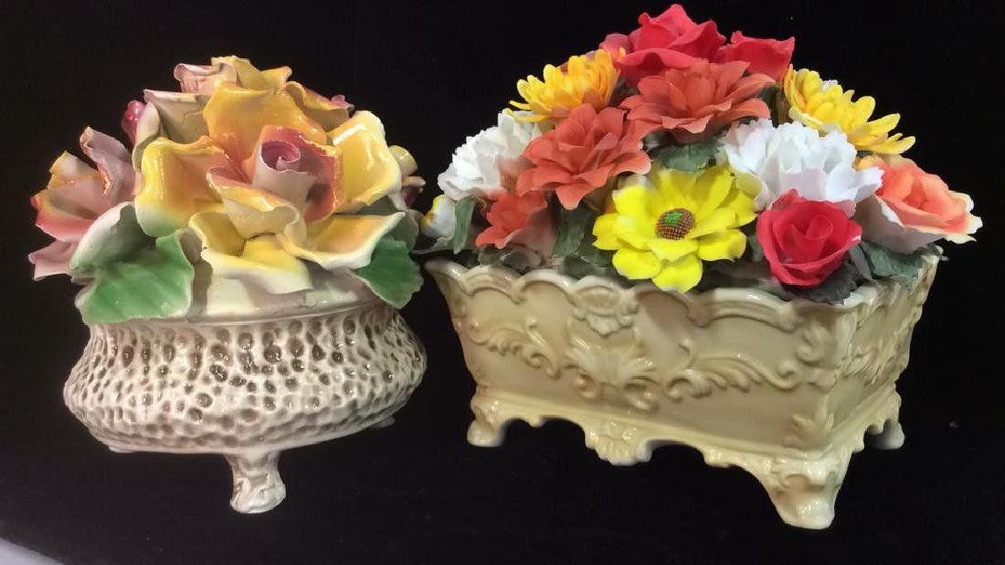 Lot 2 Sculpted Porcelain Flowers Capidimonte