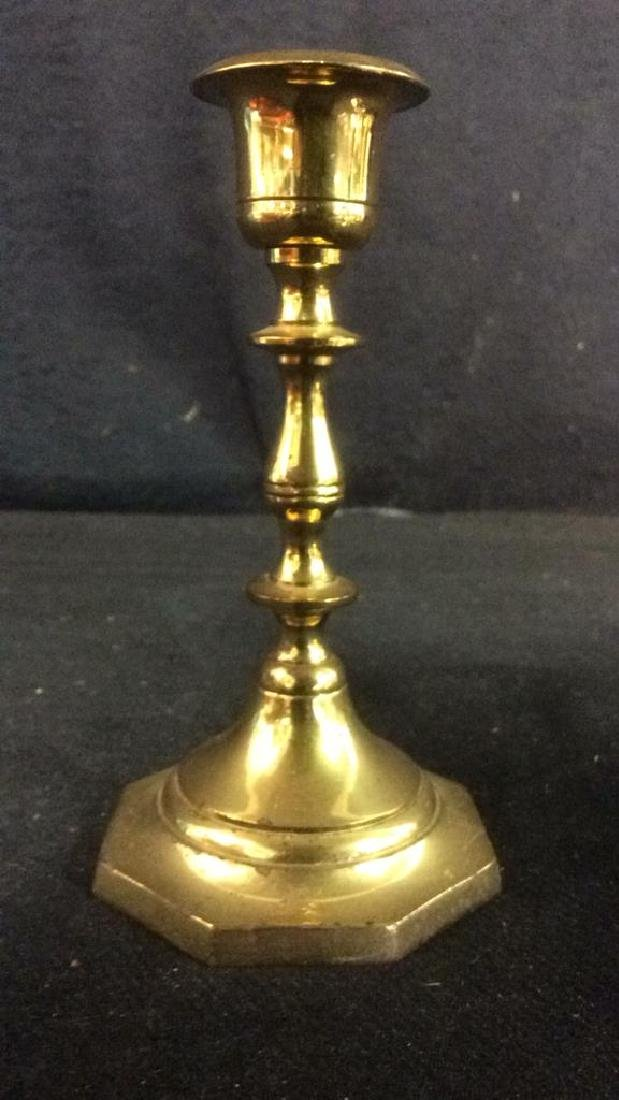 Pair Gold Toned Brass Candlestick Holders India - 2