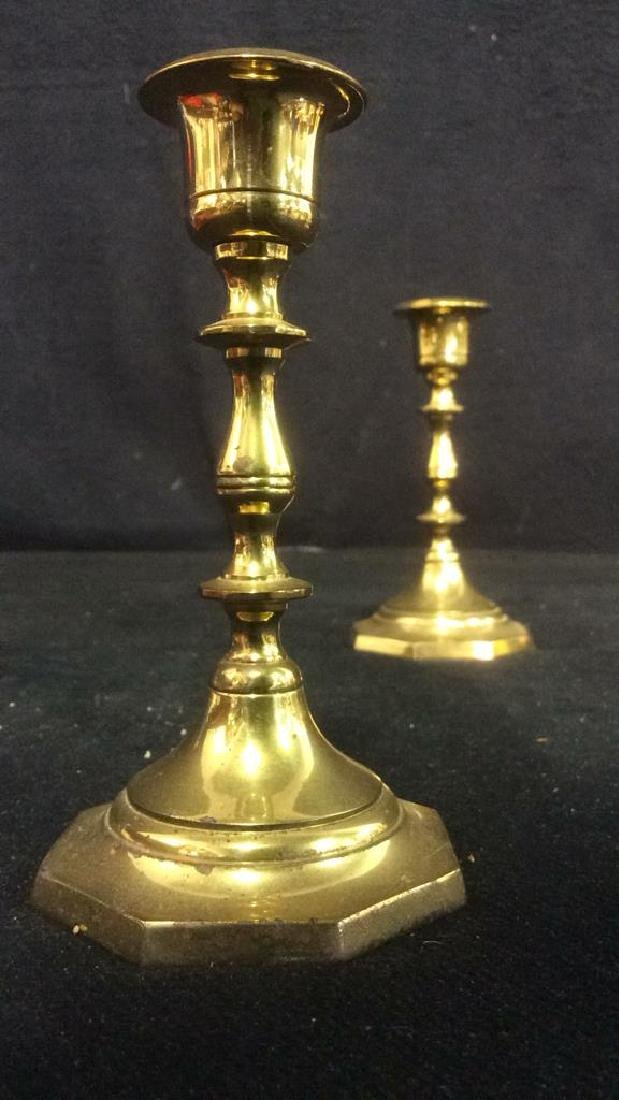 Pair Gold Toned Brass Candlestick Holders India - 3