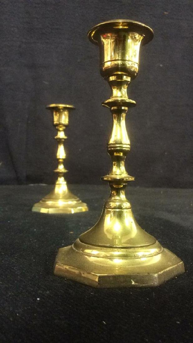 Pair Gold Toned Brass Candlestick Holders India - 4