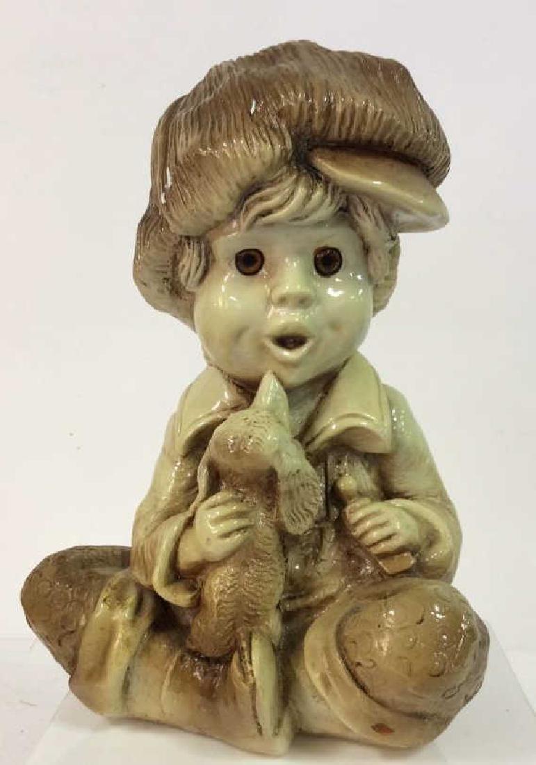 Garden Statue Boy W Dog