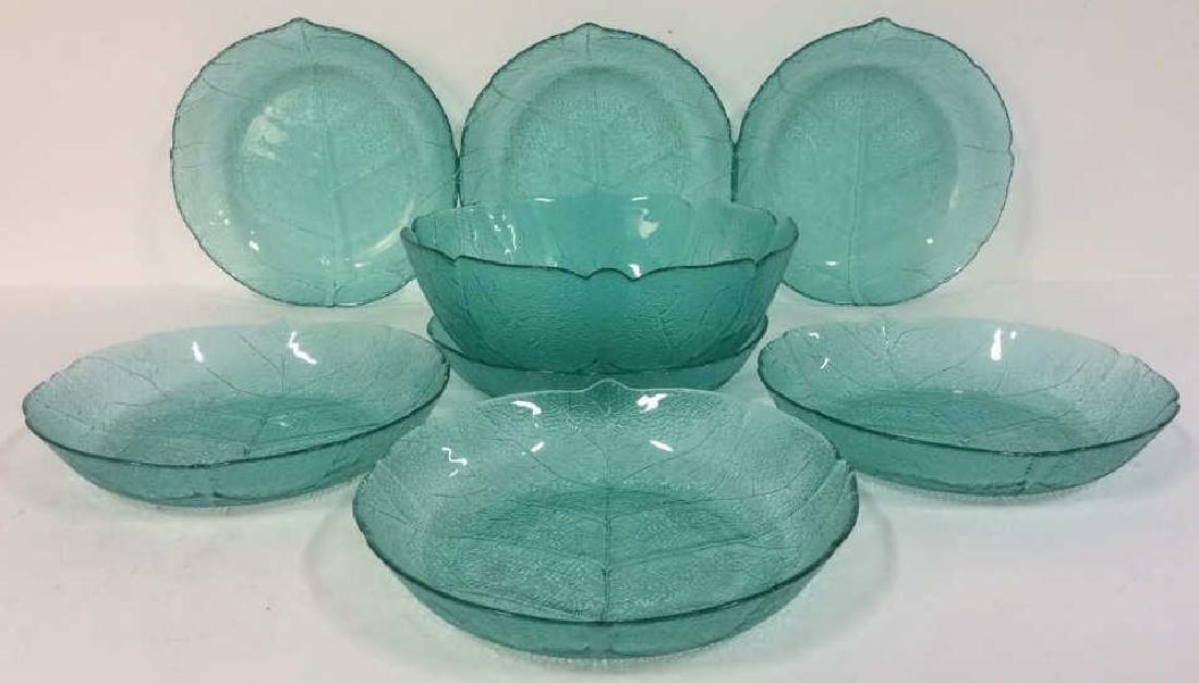 Lot 8 Leaf Detail Teal  Impression Glass Bowls