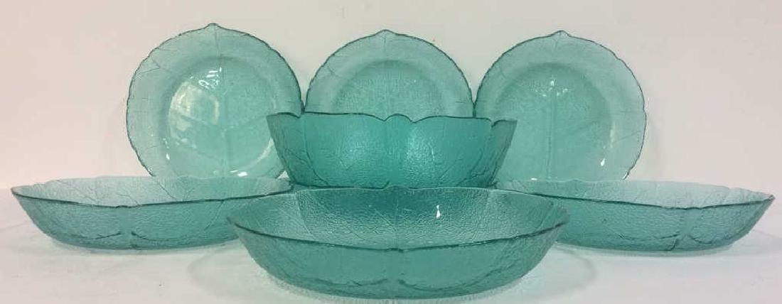 Lot 8 Leaf Detail Teal  Impression Glass Bowls - 2