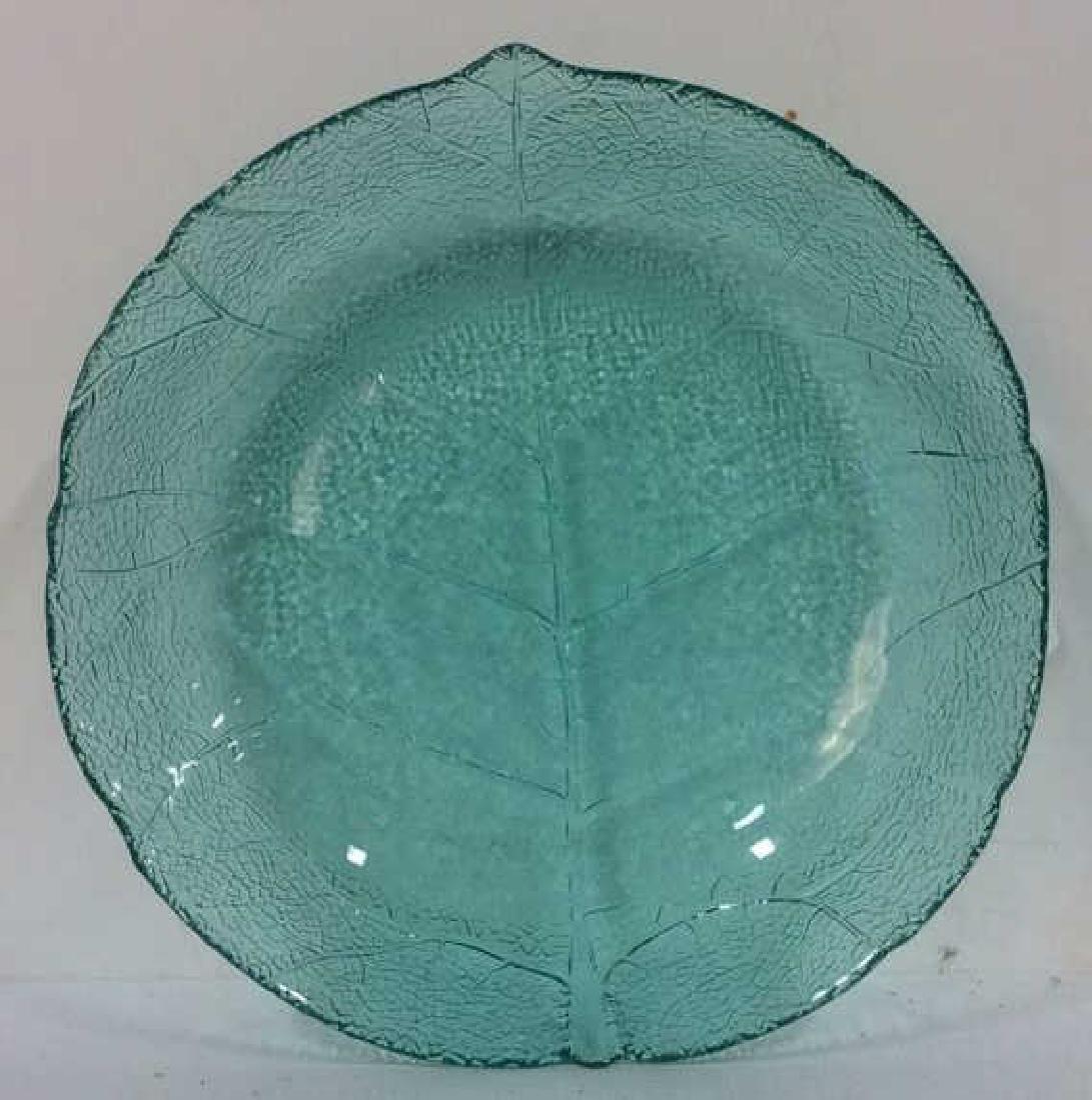 Lot 8 Leaf Detail Teal  Impression Glass Bowls - 3