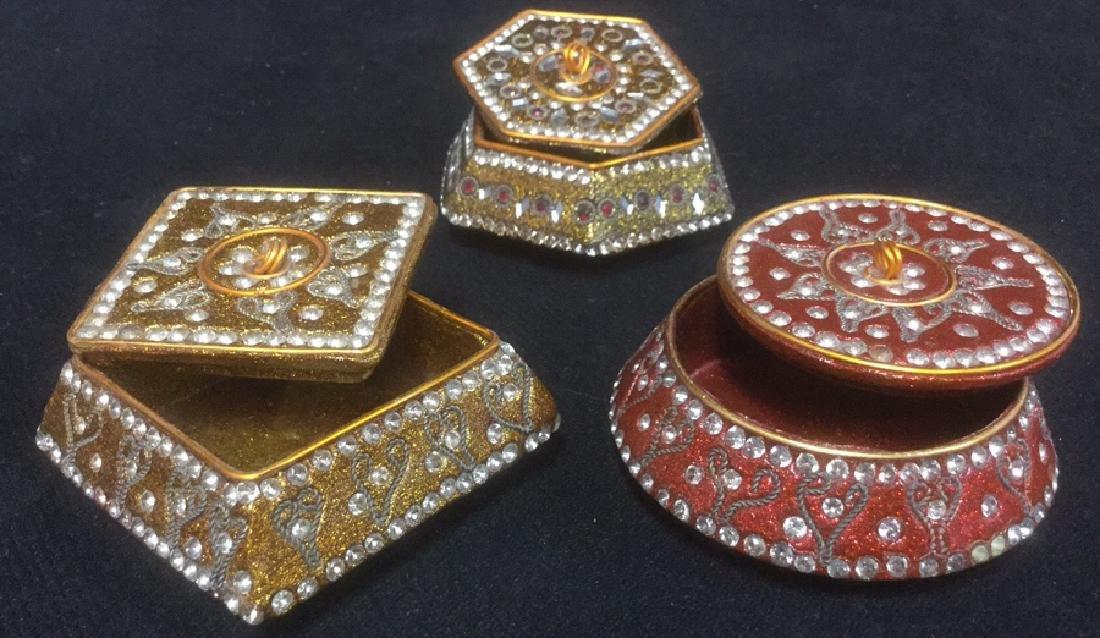 Lot 3 Sparkling Trinket Boxes W Faux Stone