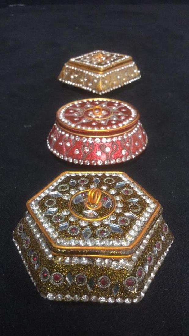 Lot 3 Sparkling Trinket Boxes W Faux Stone - 3