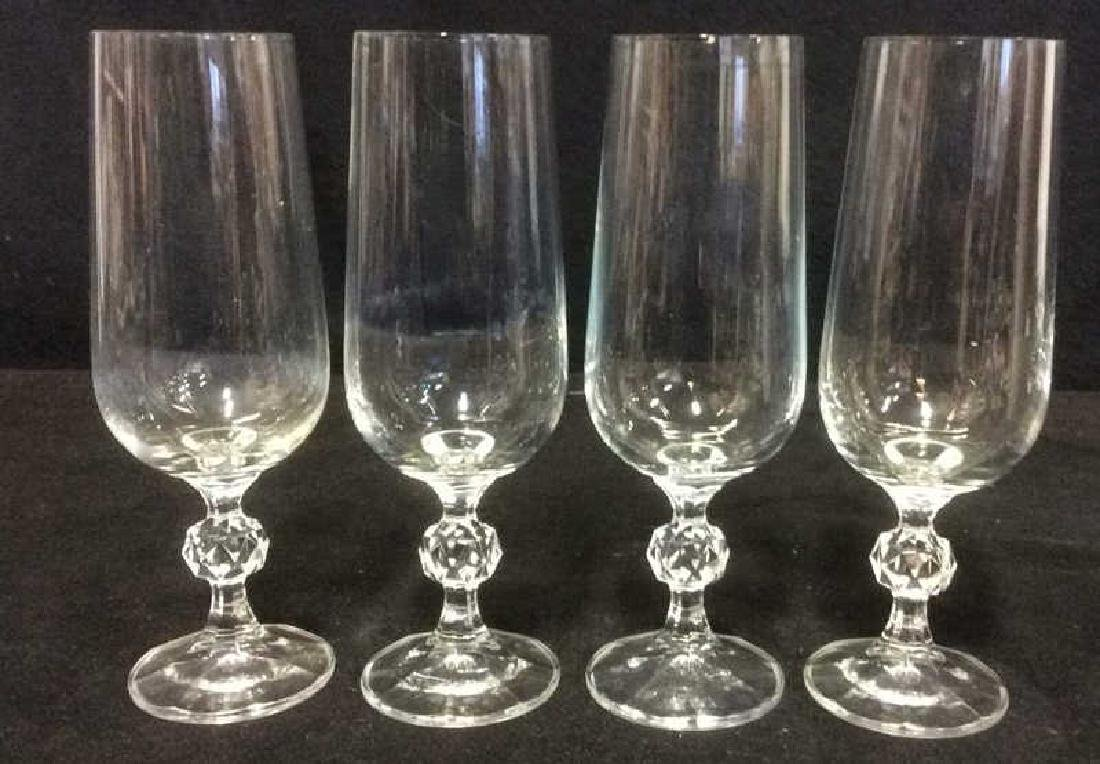 Set 4 Cut Crystal Champagne Flutes