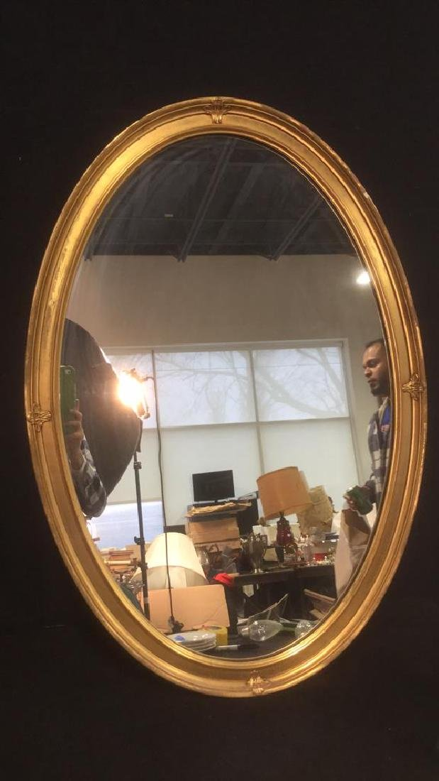 Oval Shaped Gold Toned Wall Mirror - 5