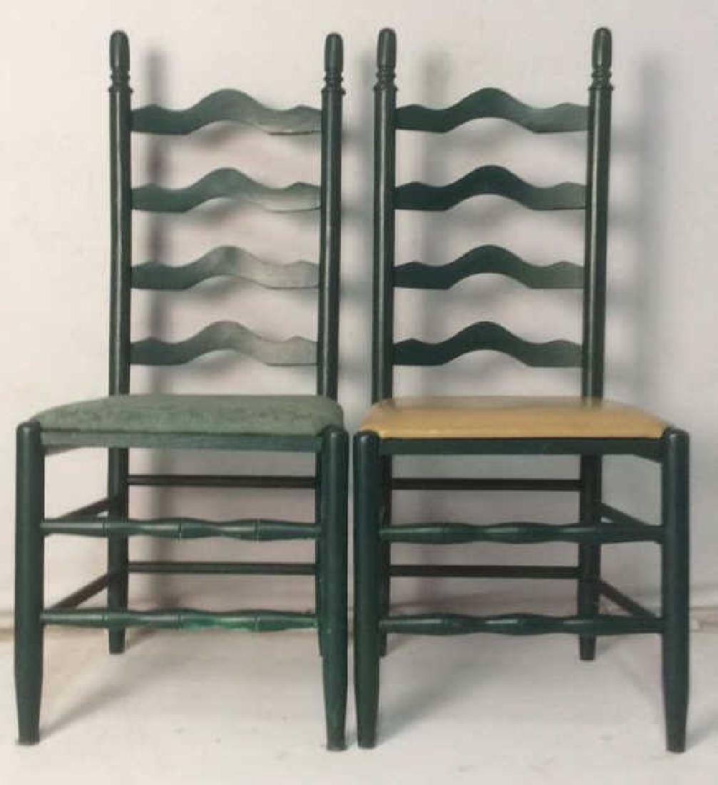 Lot 2 Carved Green Toned Wooden Side Chairs