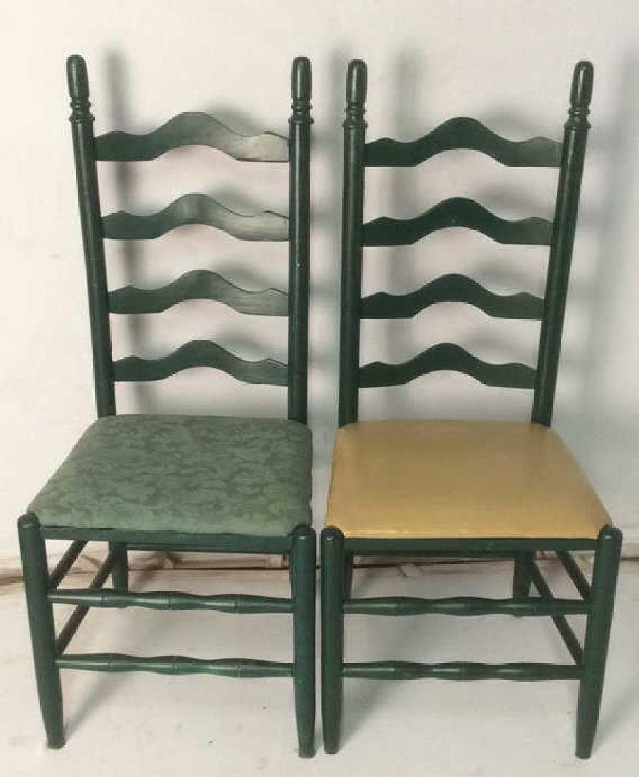 Lot 2 Carved Green Toned Wooden Side Chairs - 2