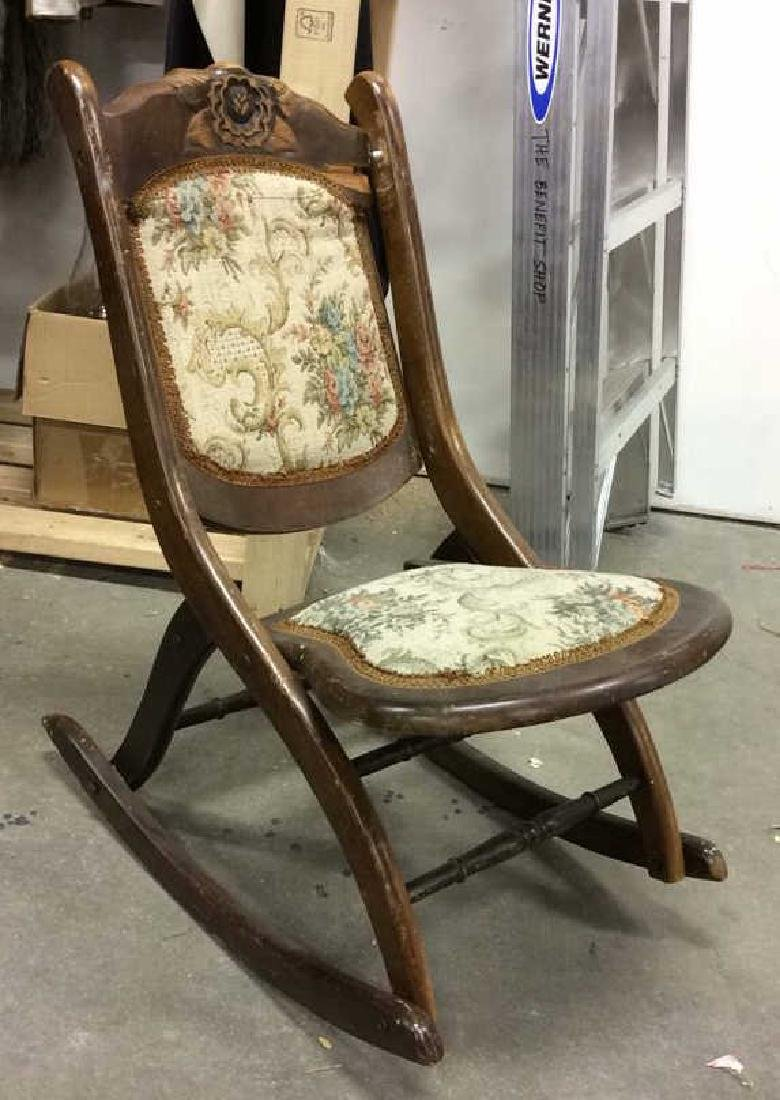 Carved Wooden Cushioned Folding Chair