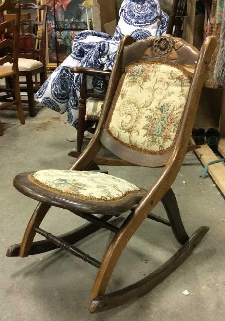 Carved Wooden Cushioned Folding Chair - 3