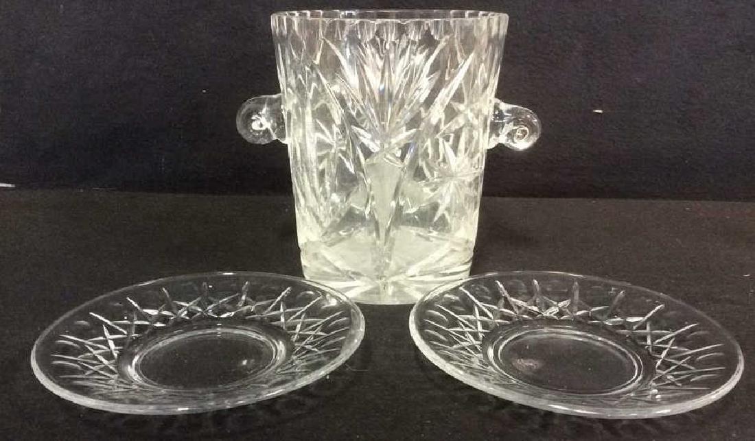 Lot 3 Crystal Ice Bucket & Glass Plates