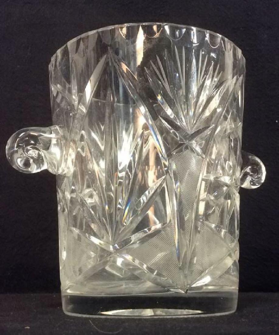 Lot 3 Crystal Ice Bucket & Glass Plates - 2