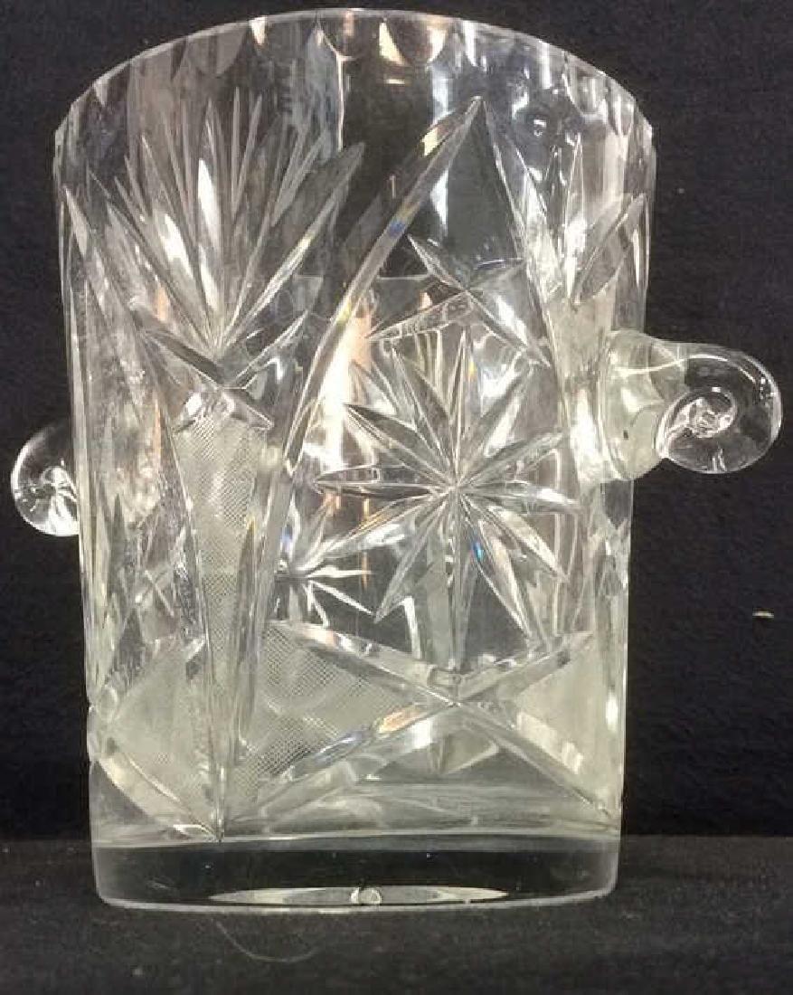 Lot 3 Crystal Ice Bucket & Glass Plates - 3