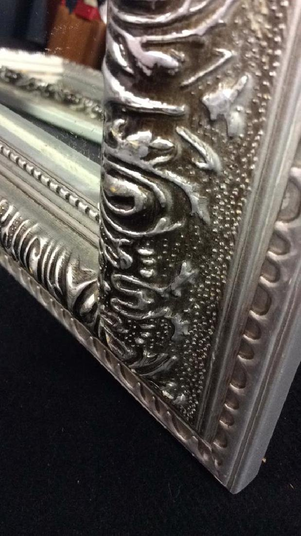 Pair Silver Toned Painted Wooden Framed Mirrors - 5