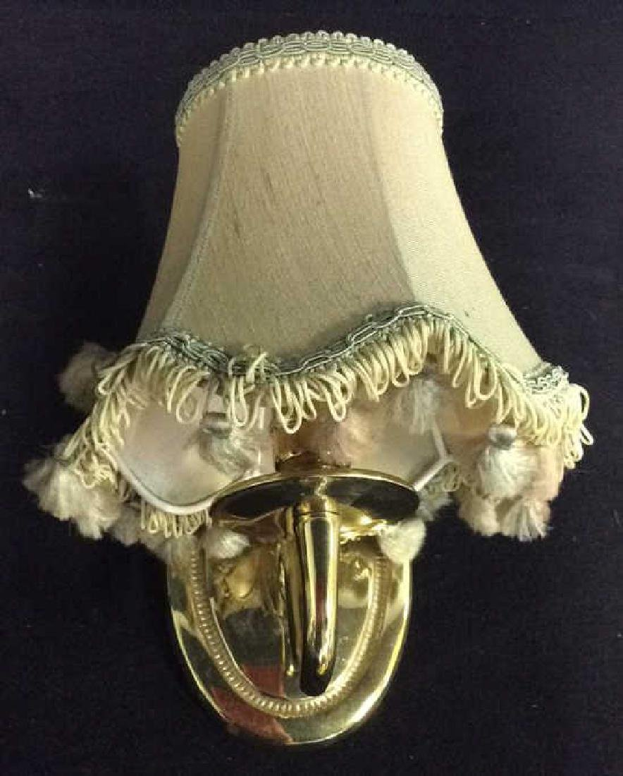 Pair Brass Toned Metal Wall Sconces - 2