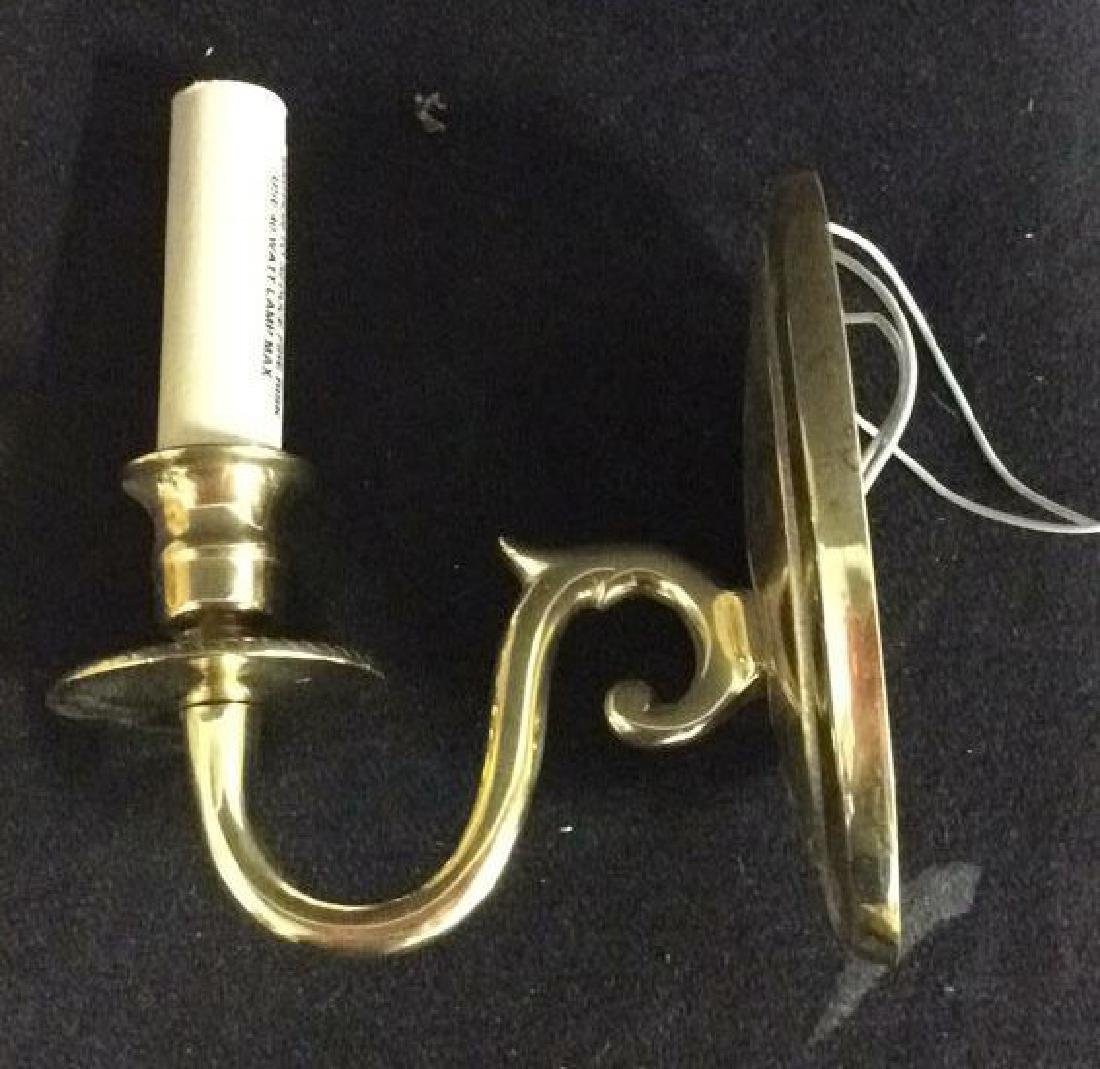Pair Brass Toned Metal Wall Sconces - 3