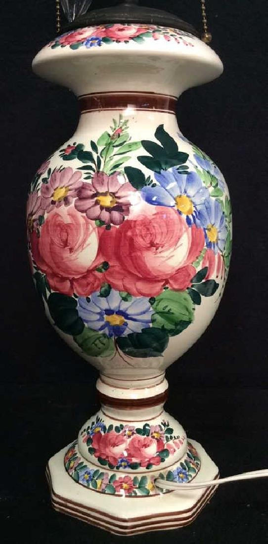 Brightly Painted Porcelain Floral Lamp, Hungary