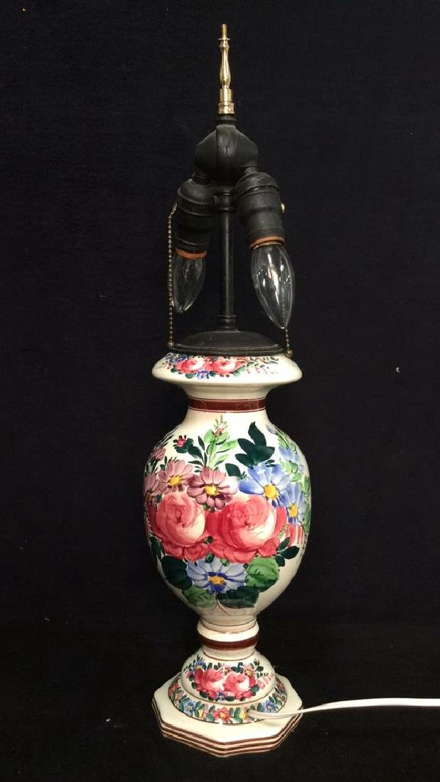 Brightly Painted Porcelain Floral Lamp, Hungary - 3