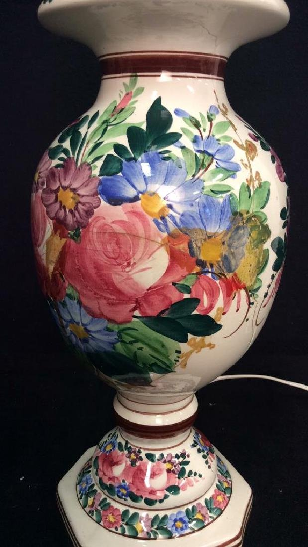 Brightly Painted Porcelain Floral Lamp, Hungary - 5