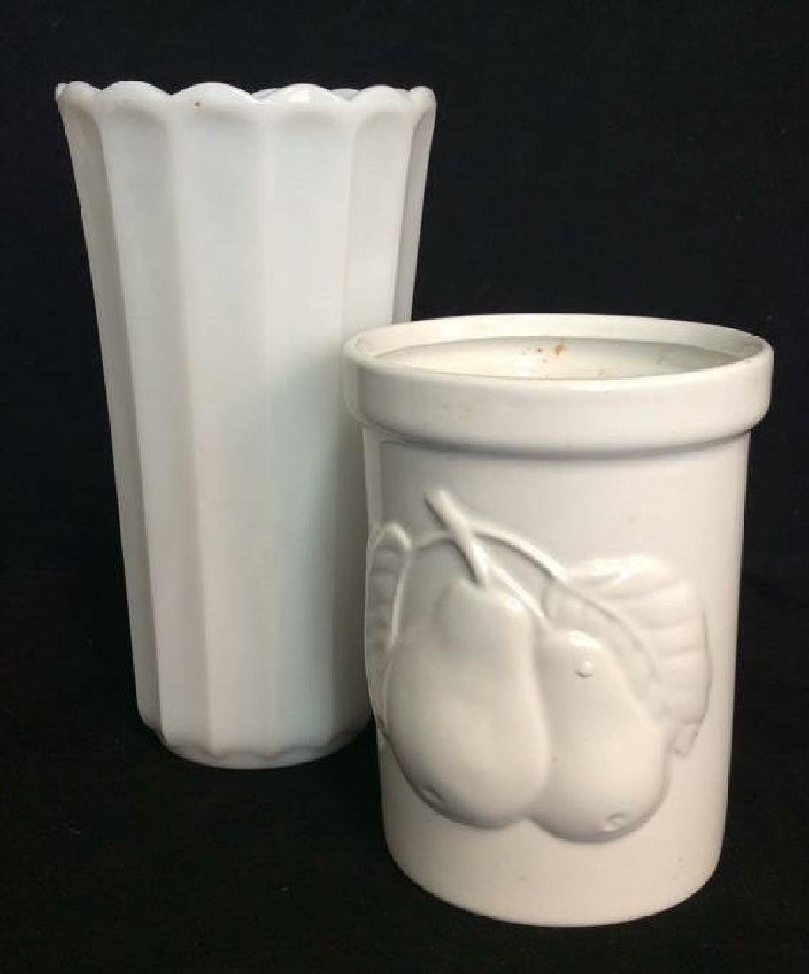 Lot 2 White Toned Vases Acessories