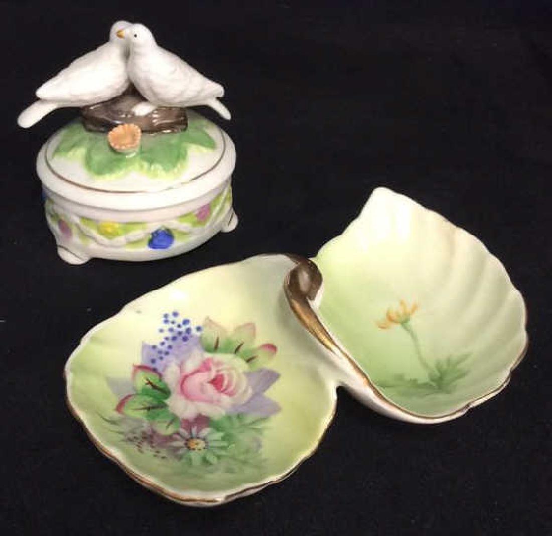 Lot 2 Painted Porcelain Tabletop Accessories