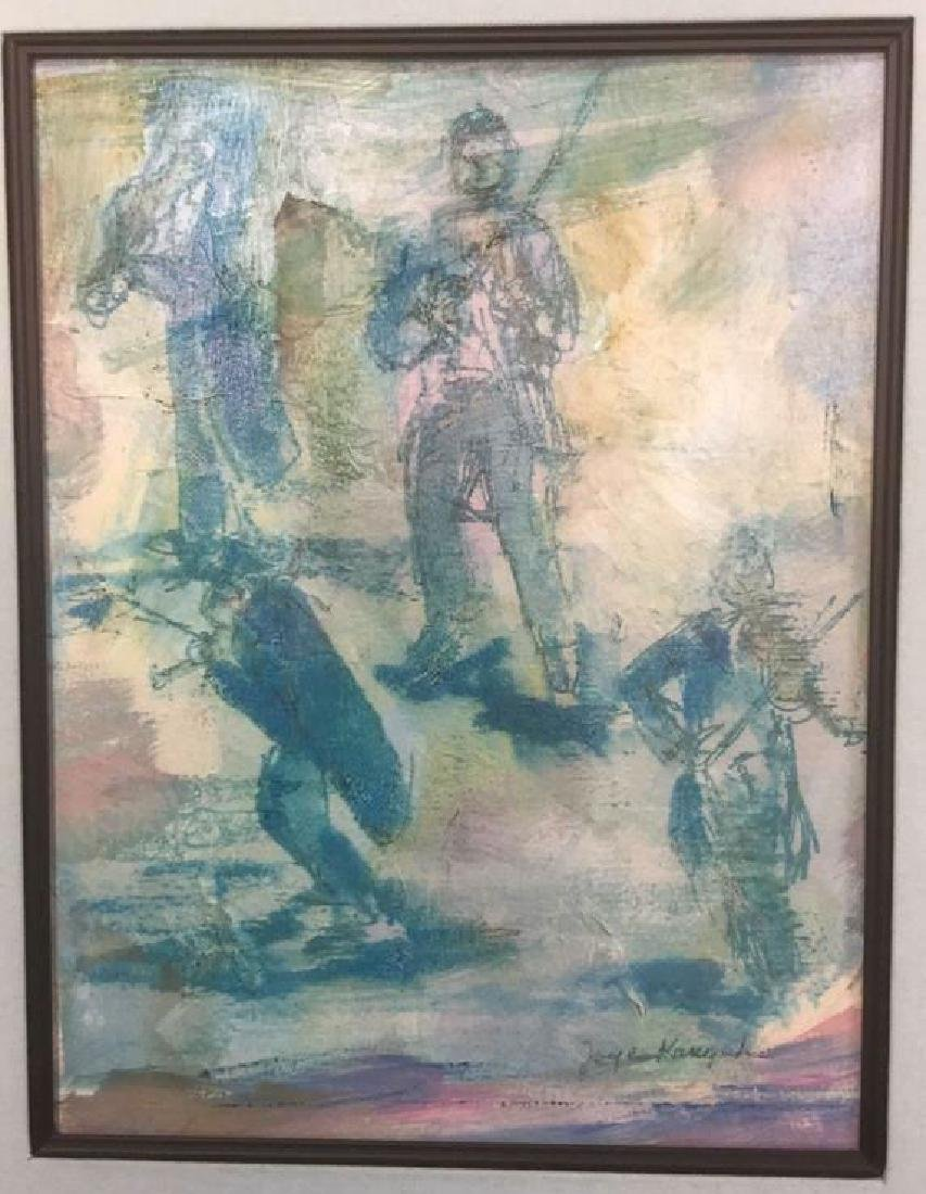 Framed Matted Abstract Artwork On Paper Signed